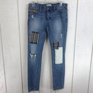 Free People distressed patchwork jeans size 27